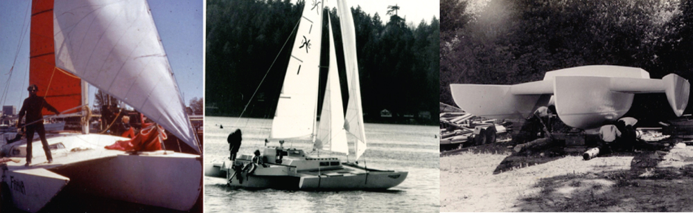 Trimarans Freya, Windspeed and Kyst. 37' LOA Kyst was launched in July 1974.