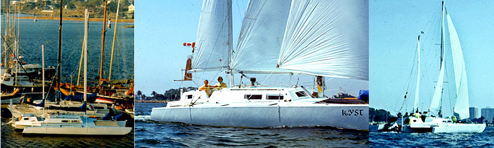 Kist, a 37 ' Kismet trimaran sailing in San Diego Harbour in 1975 enroute to Mexico and the South Pacific