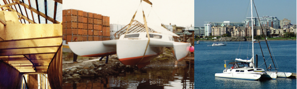 Kyote, 38' trimaran built in 1976 in cold molded wood and composite construction by Harold Aune