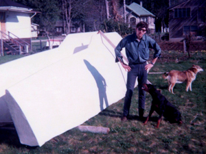 Harold Aune with the Amas for Freya a 37' Trimaran in 1967.